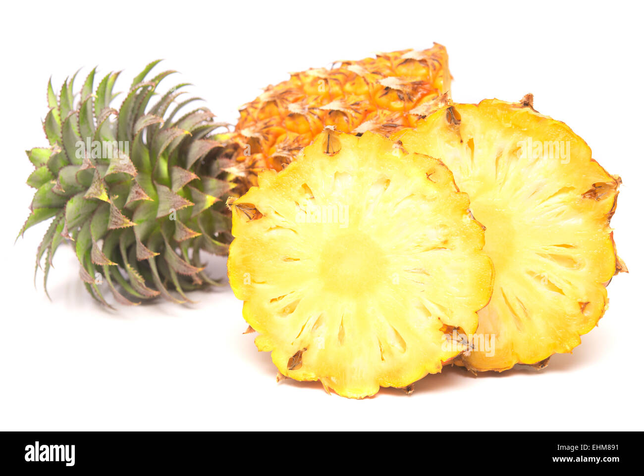 ripe fresh pineapple isolated on white background - Stock Image