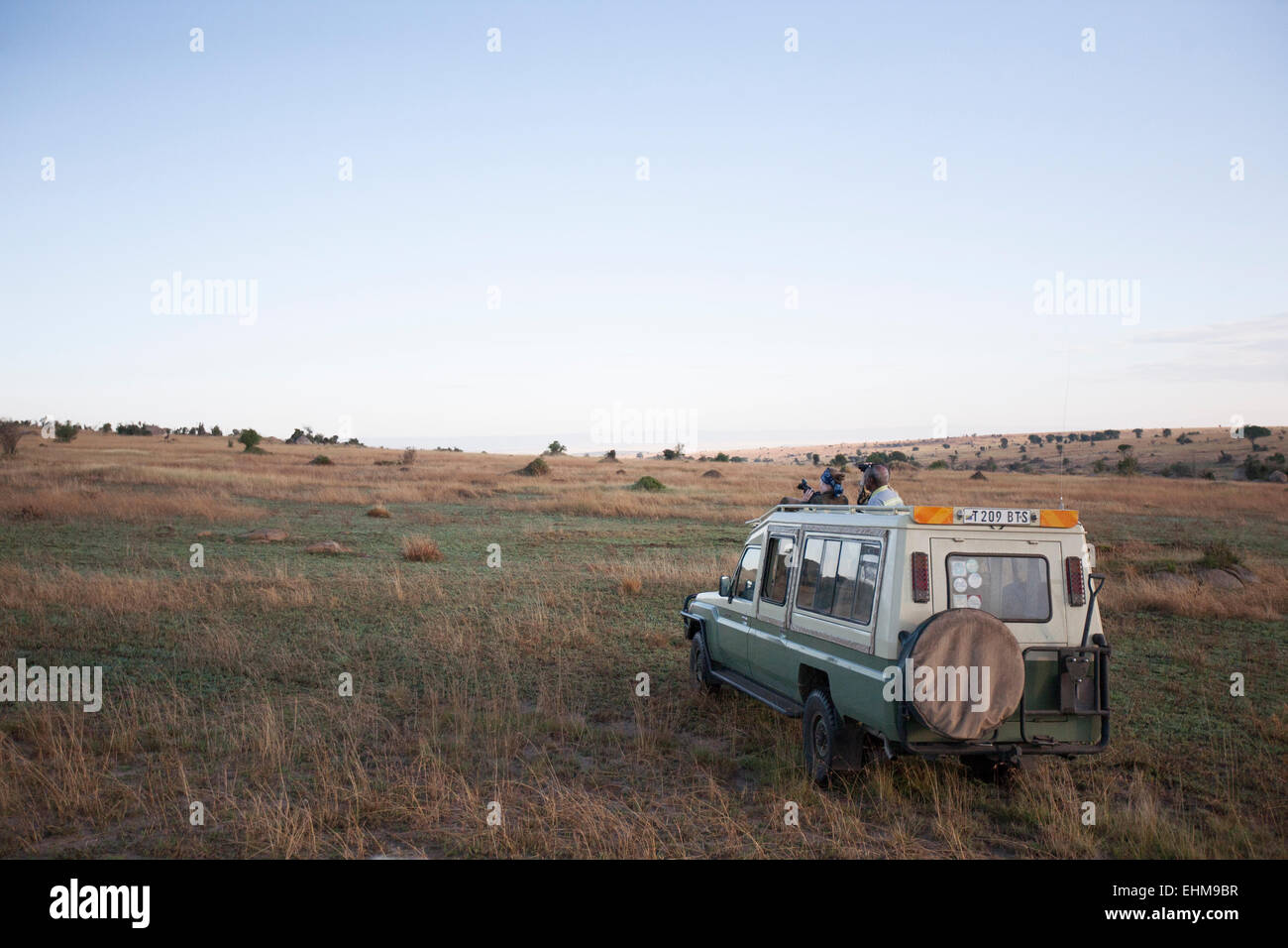 Tourists on a game drive in the Serengeti. - Stock Image