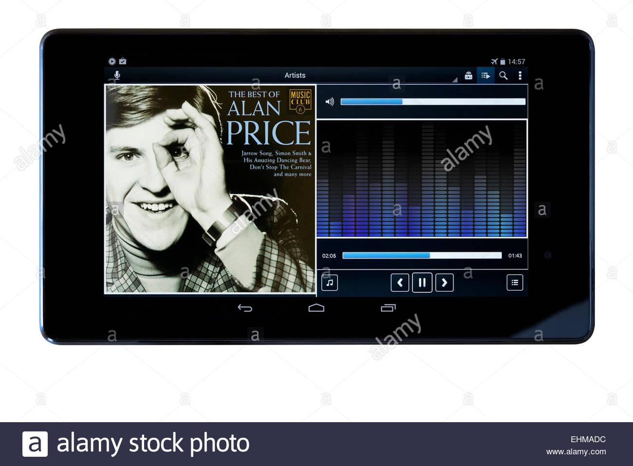 Alan Price Best Of album, MP3 album art on PC tablet, England - Stock Image
