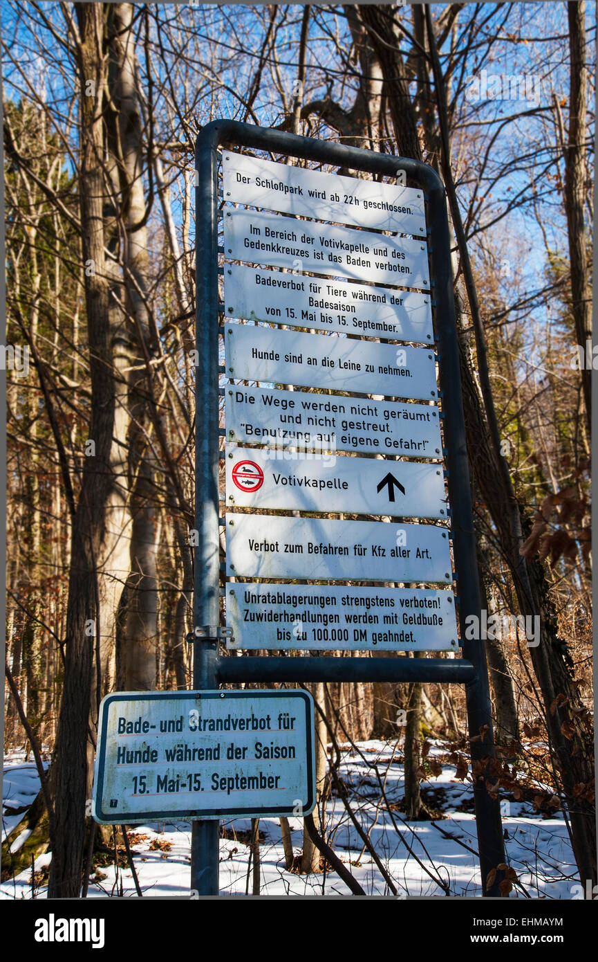 Mandatory and prohibition signs in the park at the King Ludwig II. Memorial Cross, Berg, Bavaria, Germany - Stock Image