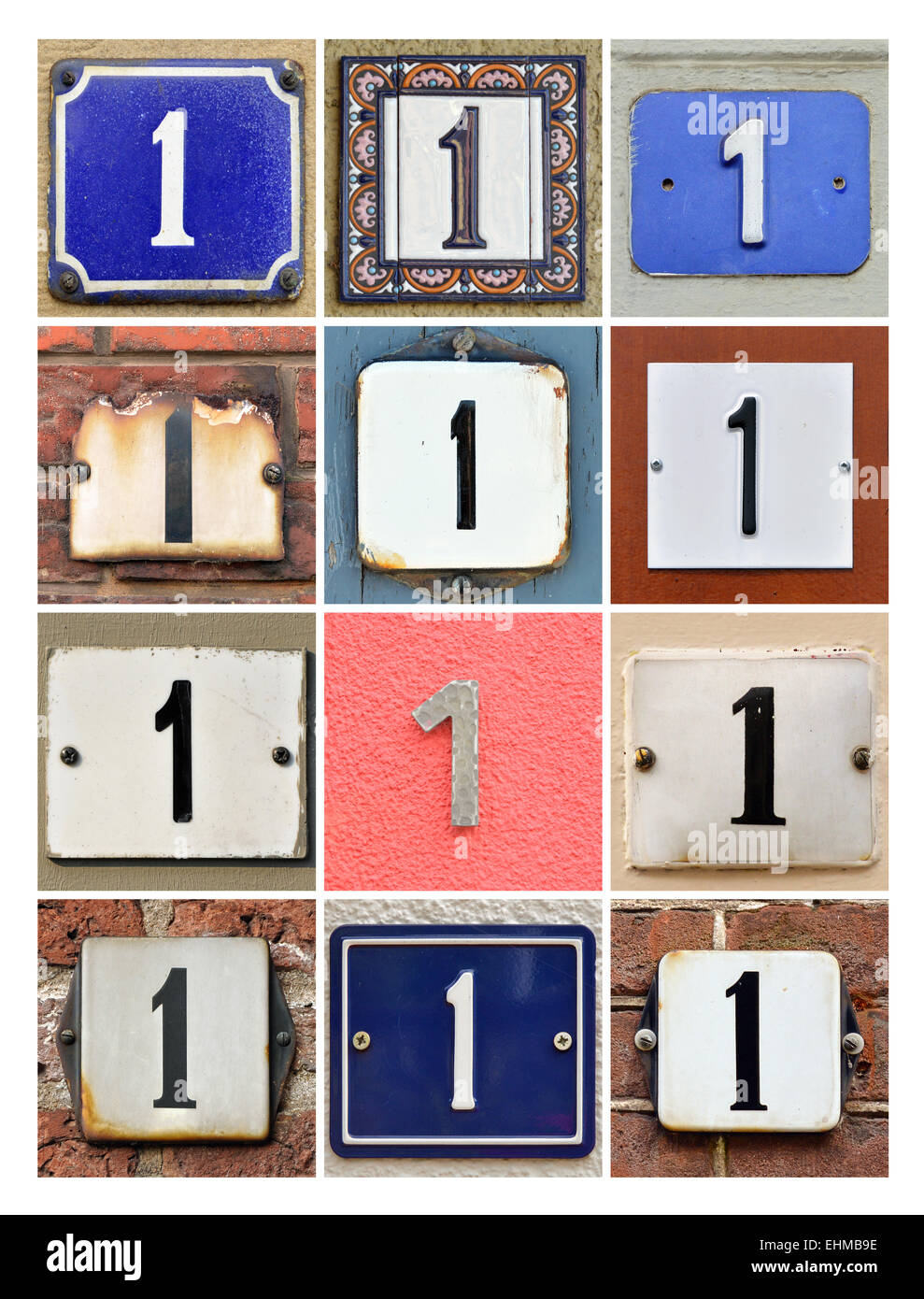 Number 1 - Collage of House Numbers One - Stock Image