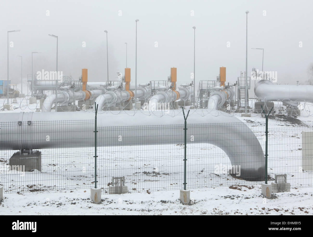 Border delivery station at the Gazela natural gas pipeline near Rozvadov, Czech Republic. - Stock Image