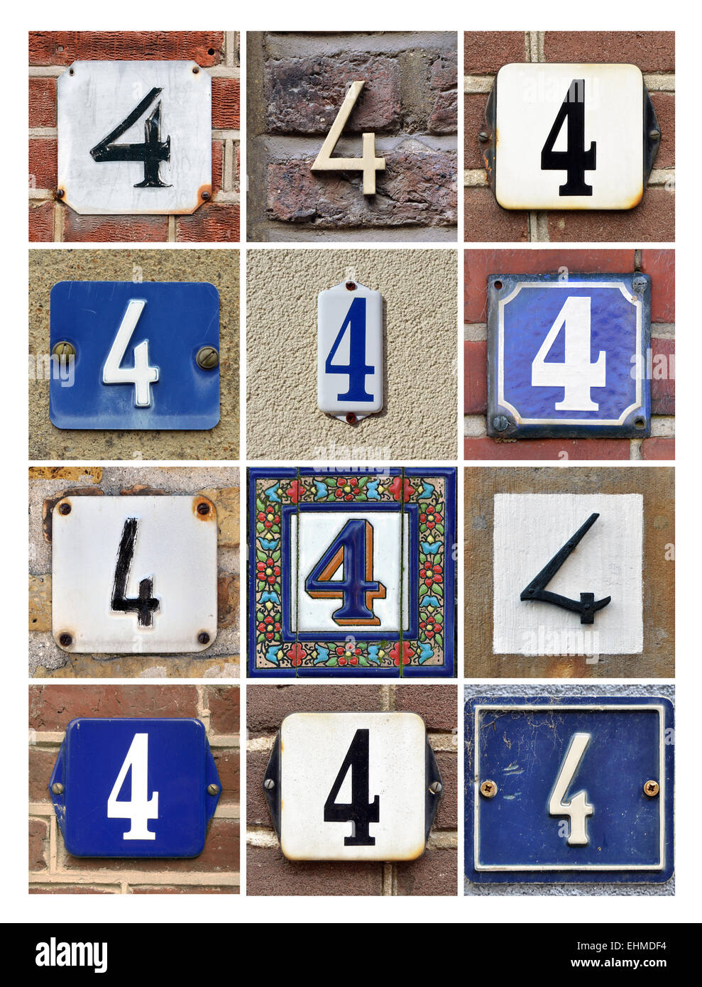 Number 4 Collage Of House Numbers Four Stock Photo 79740280 Alamy