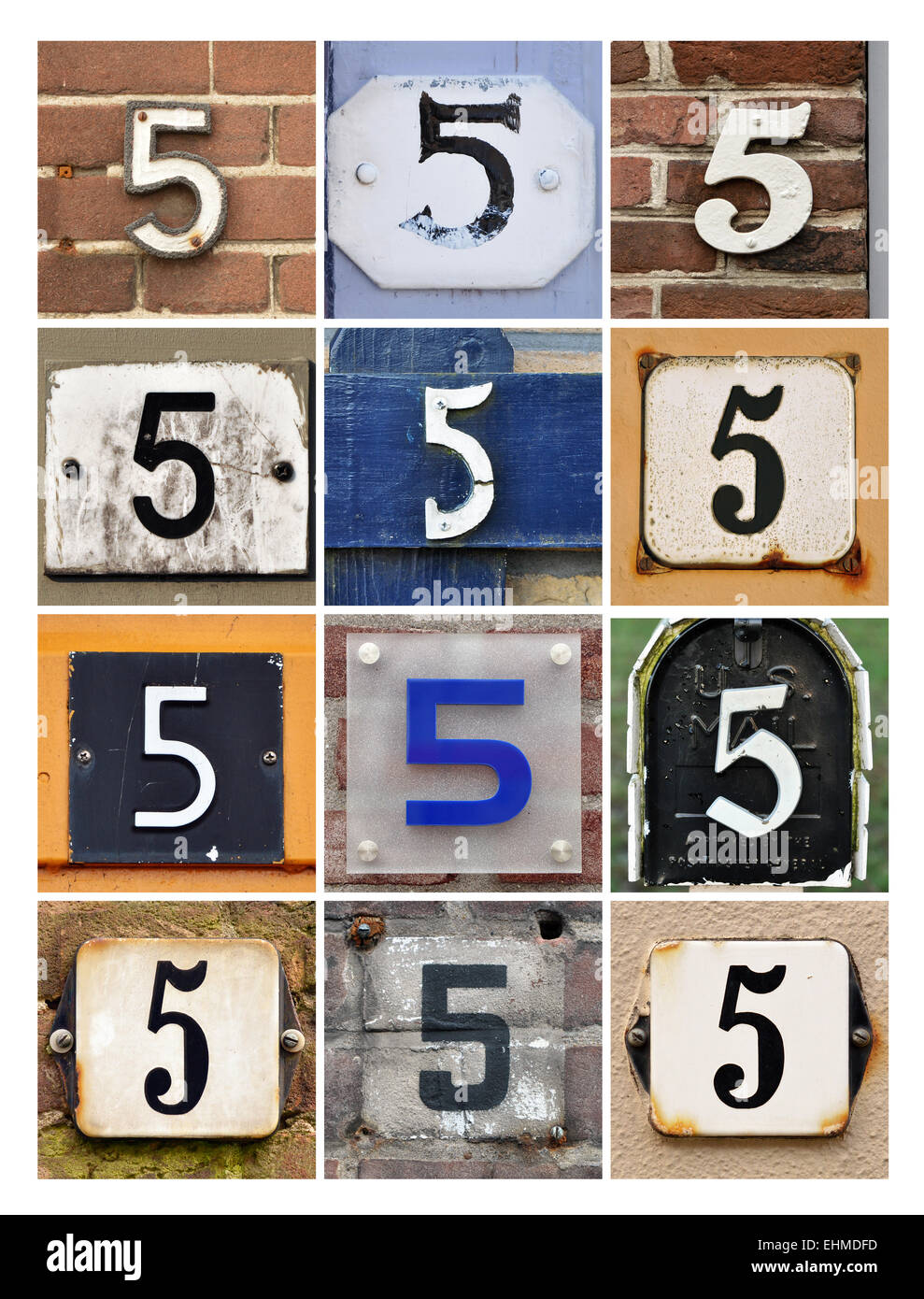 Number 5 - Collage of House Numbers Five - Stock Image