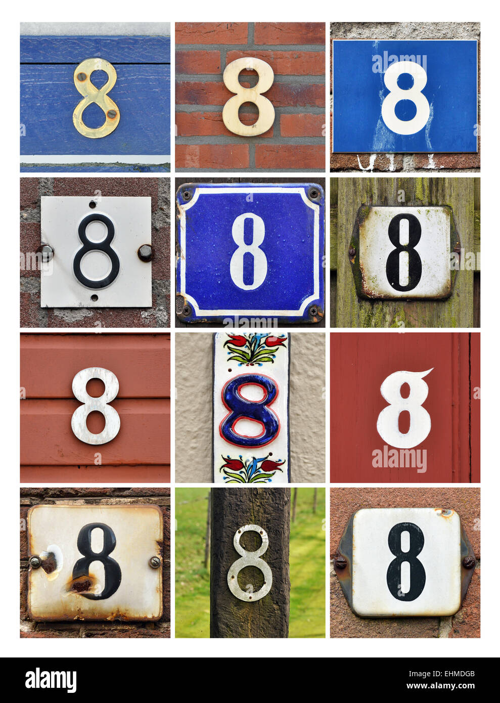 Number 8 - Collage of House Numbers Eight - Stock Image