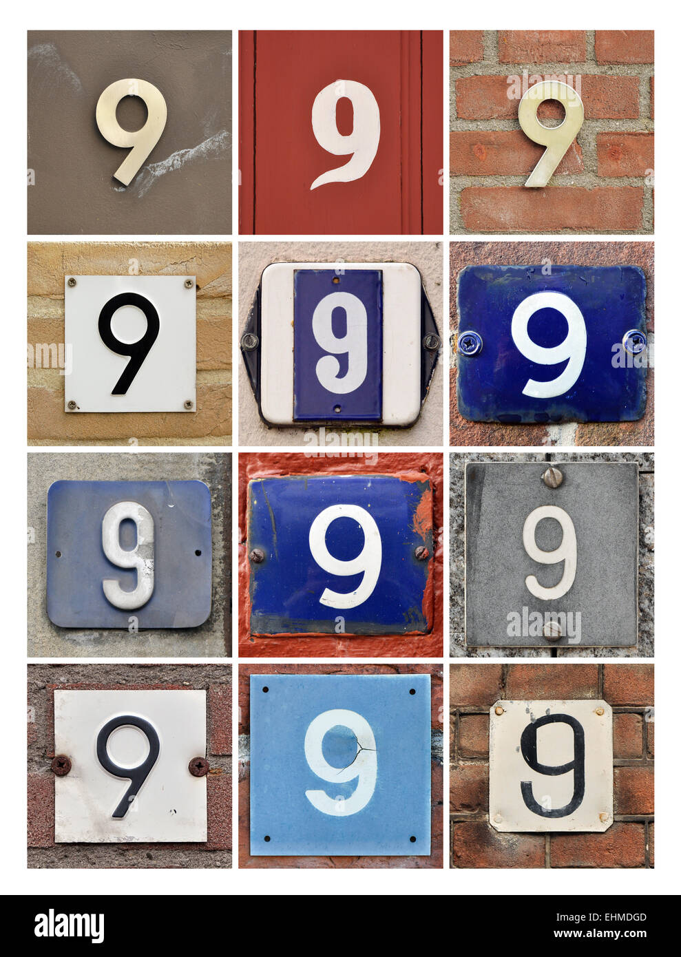 Number 9 - Collage of House Numbers Nine - Stock Image