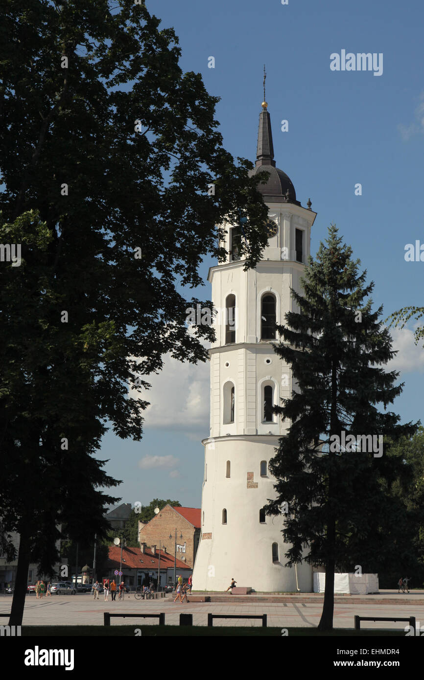 Bell tower of the Vilnius Cathedral in Vilnius, Lithuania. - Stock Image