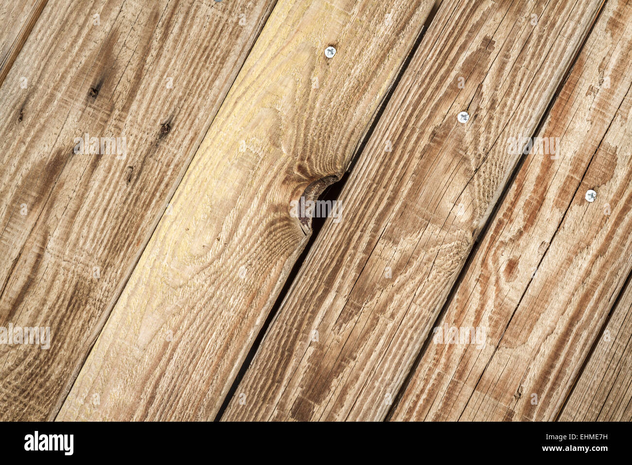 Rustic weathered old barn wood background with knots and nail holes - Stock Image
