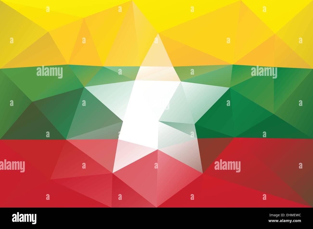 Myanmar flag - triangular polygonal pattern - Stock Vector