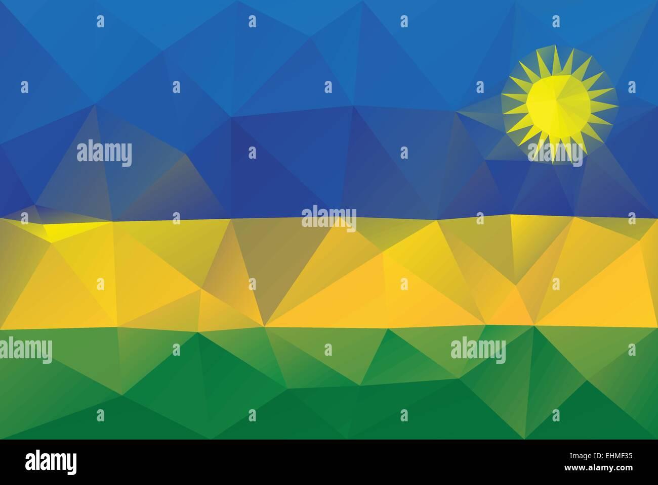 Rwanda flag - triangular polygonal vector pattern - Stock Vector