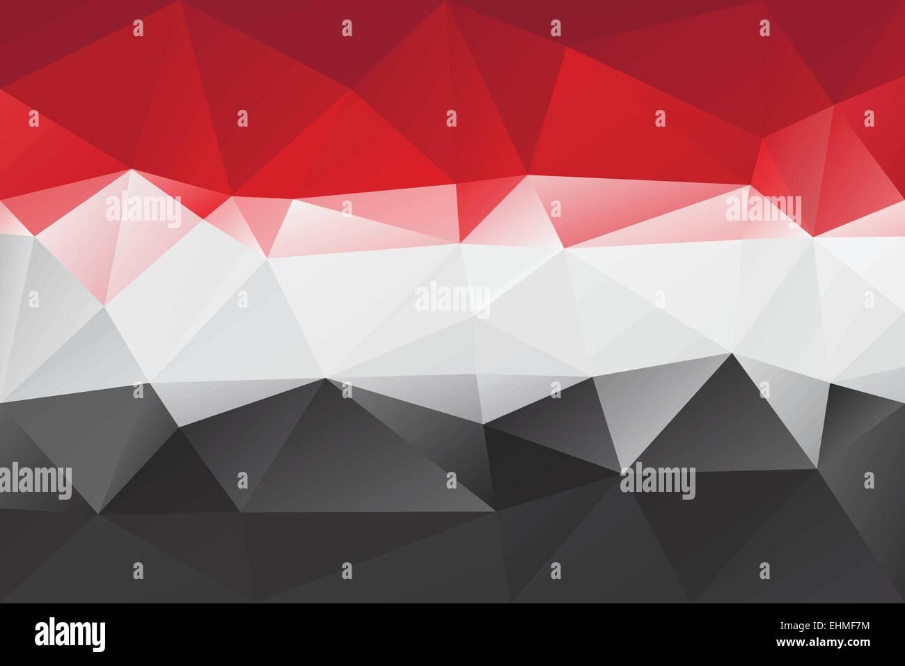 Yemen flag - triangular polygonal pattern - Stock Vector