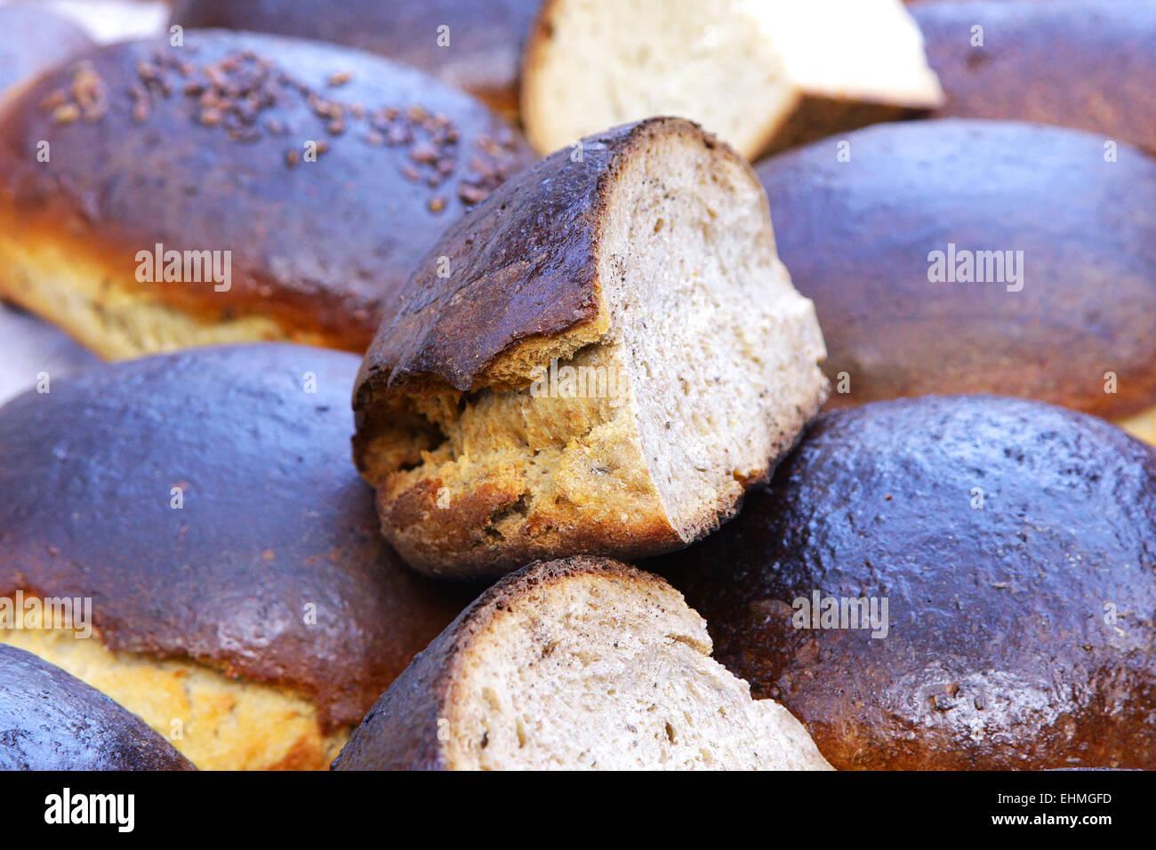rye bread on fair trade show Stock Photo