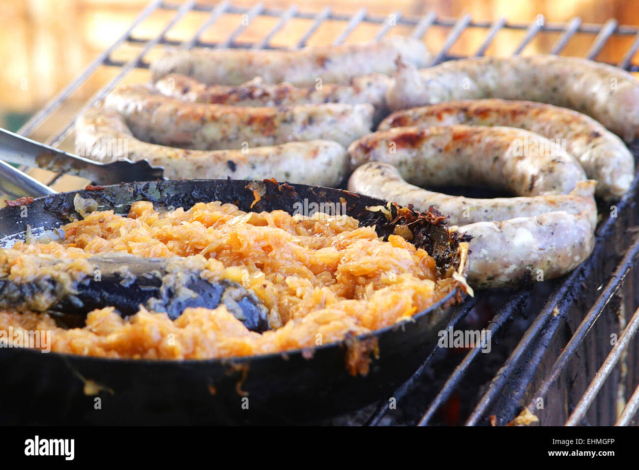 traditional europen food sausages with sauerkraut - Stock Image