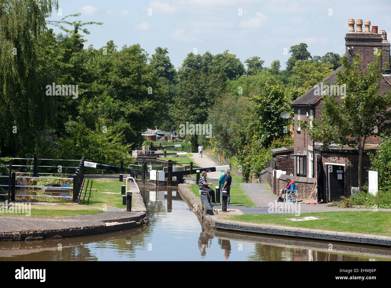 The Coventry Canal at Atherstone, Warwickshire, UK - Stock Image