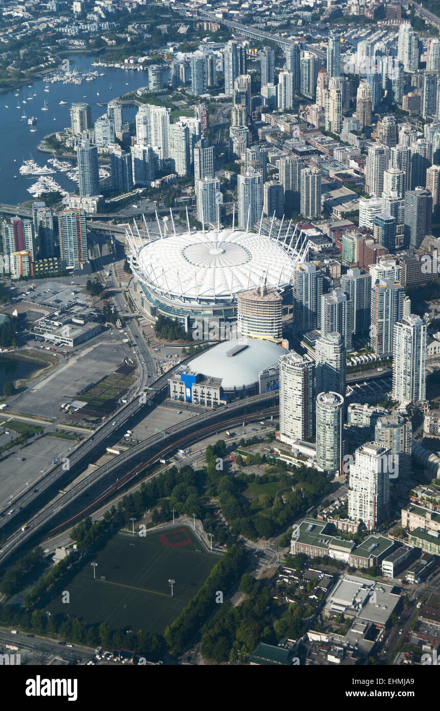 Aerial view of stadium in Vancouver cityscape, British Columbia, Canada - Stock Image