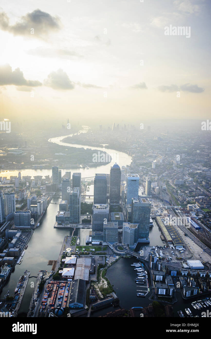 Aerial view of London cityscape and river, England - Stock Image