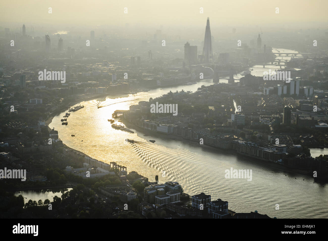 Aerial view of London cityscape and river, England Stock Photo