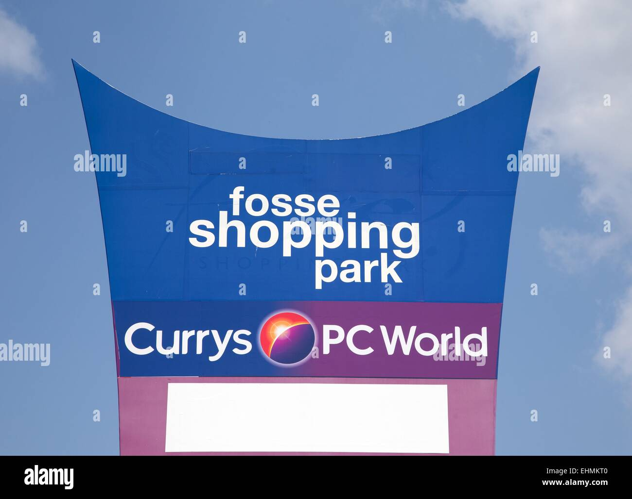 Sign for The Fosse shopping park, Leicester, Currys and PC World - Stock Image