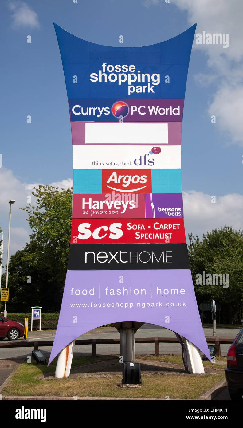 Sign for The Fosse shopping park, Leicester - Stock Image