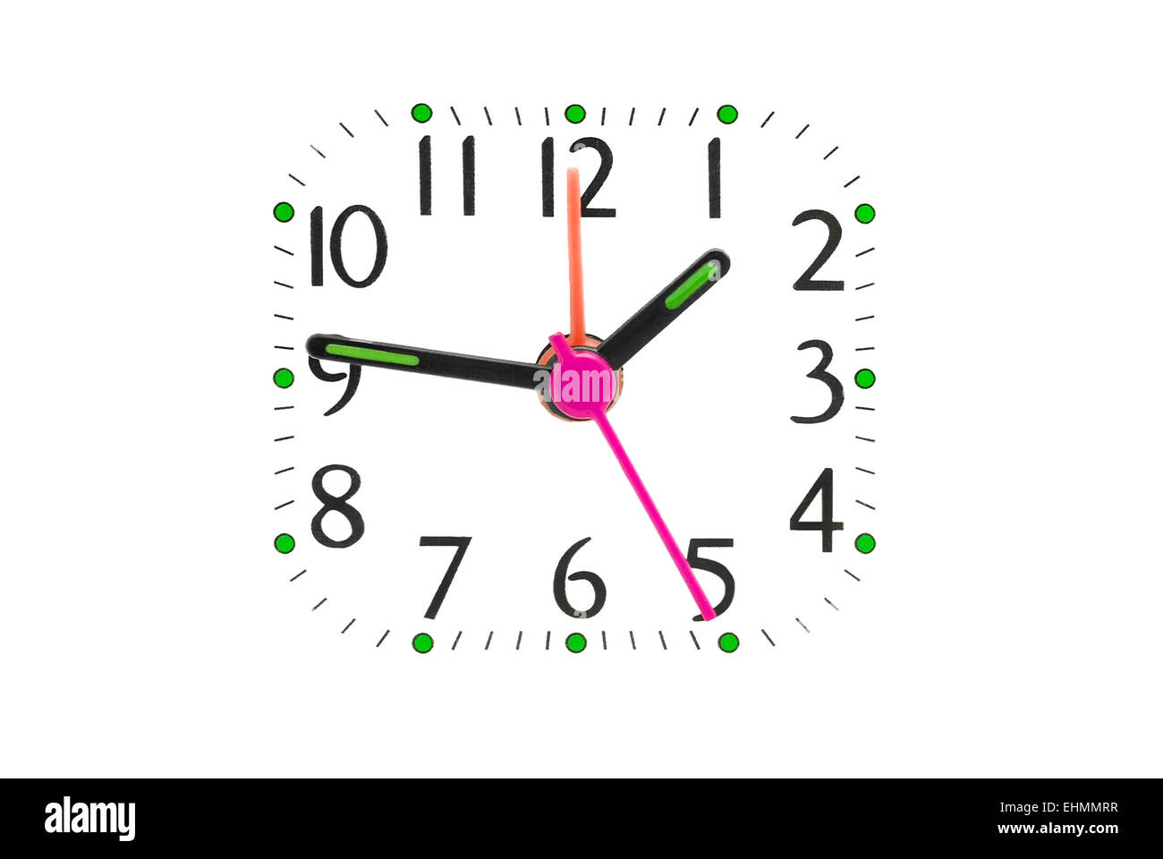 clock dial isolated on white - Stock Image