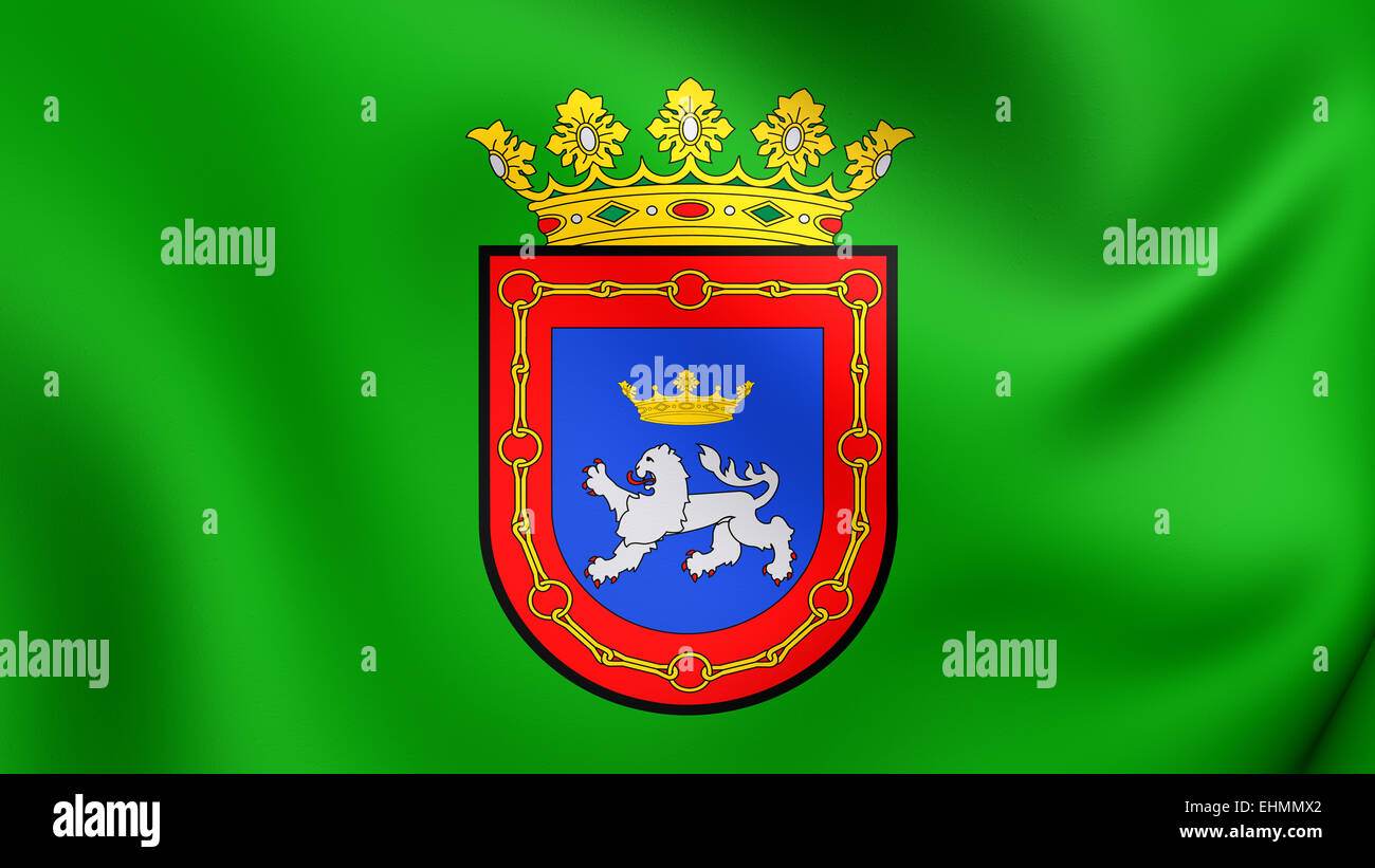 Flag of Pamplona, Spain. Close Up. Stock Photo