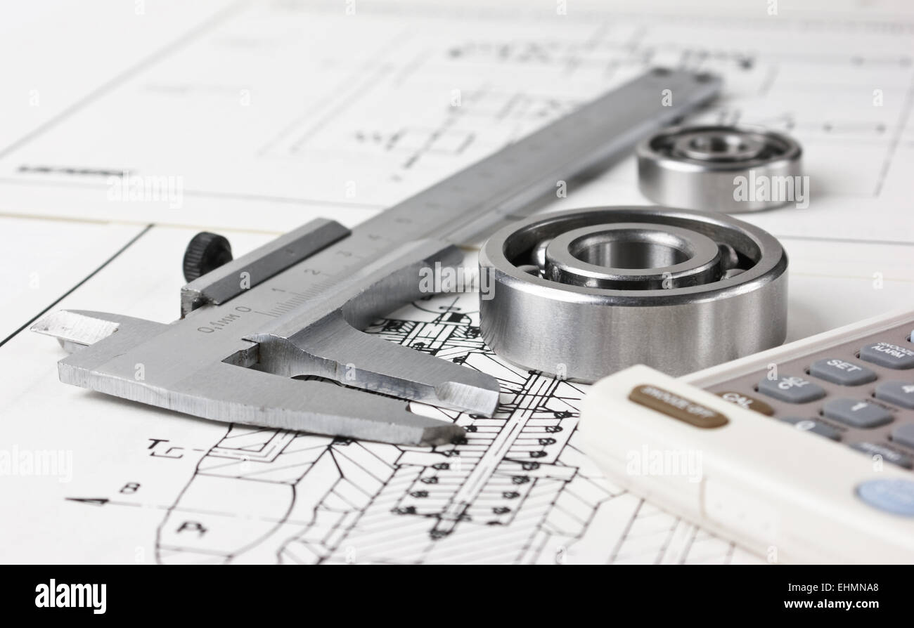 mechanical scheme and calipers with bearing - Stock Image