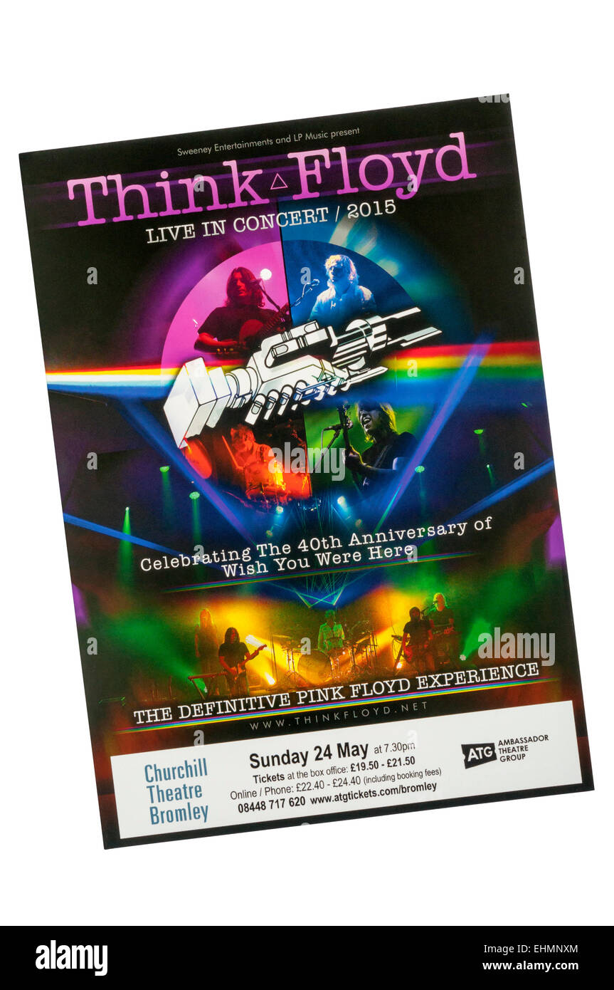 Promotional flyer for 2015 appearance of Pink Floyd tribute band, Think Floyd at the Churchill Theatre, Bromley. - Stock Image