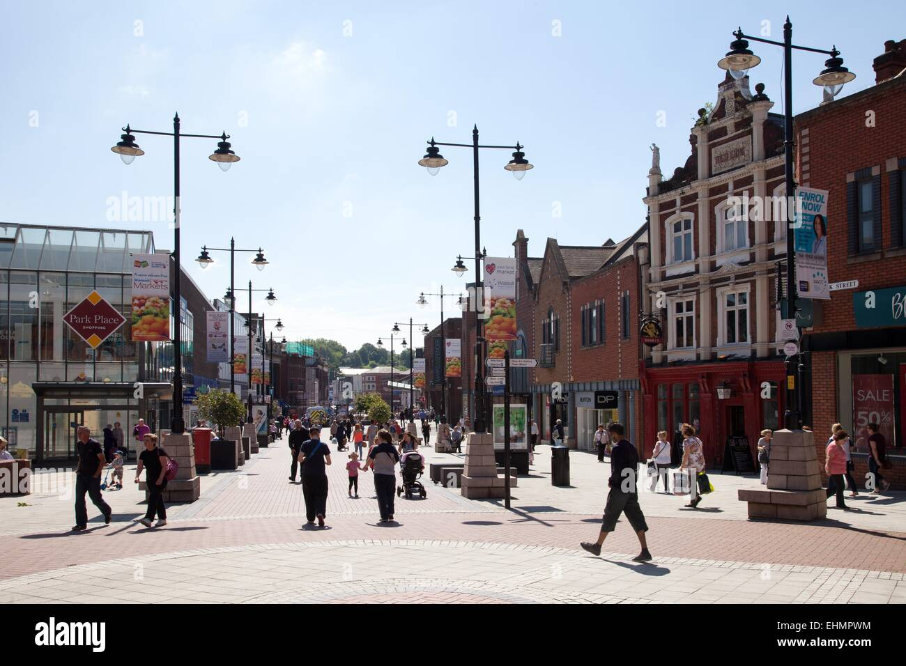 Shops and retailers in Walsall town centre, West Midlands - Stock Image