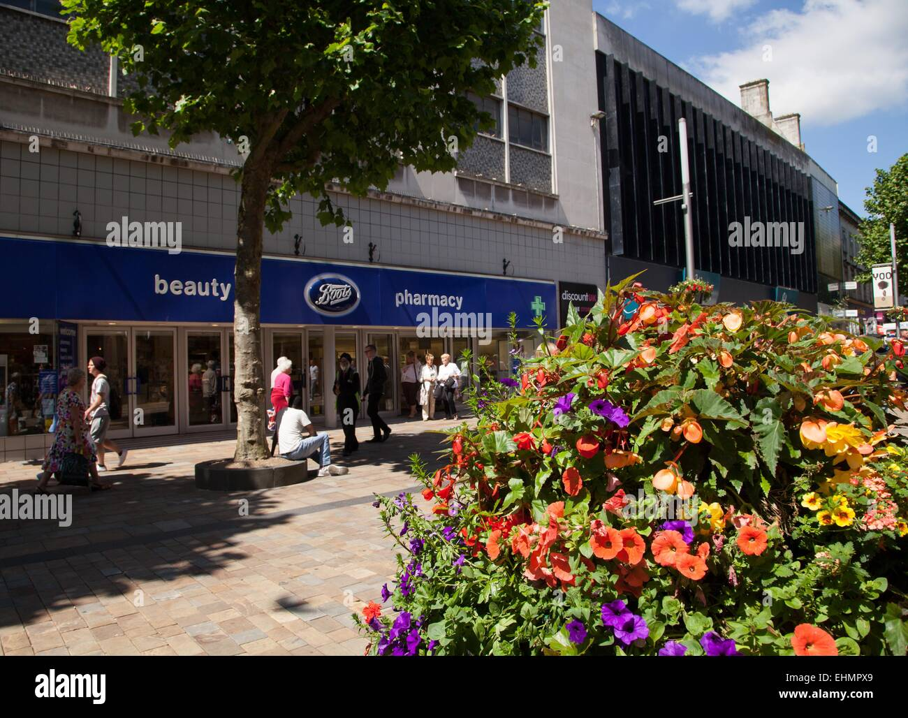 Shopping in Wolverhampton City Centre, Marks Spencer, Next, Boots, River Island Stock Photo