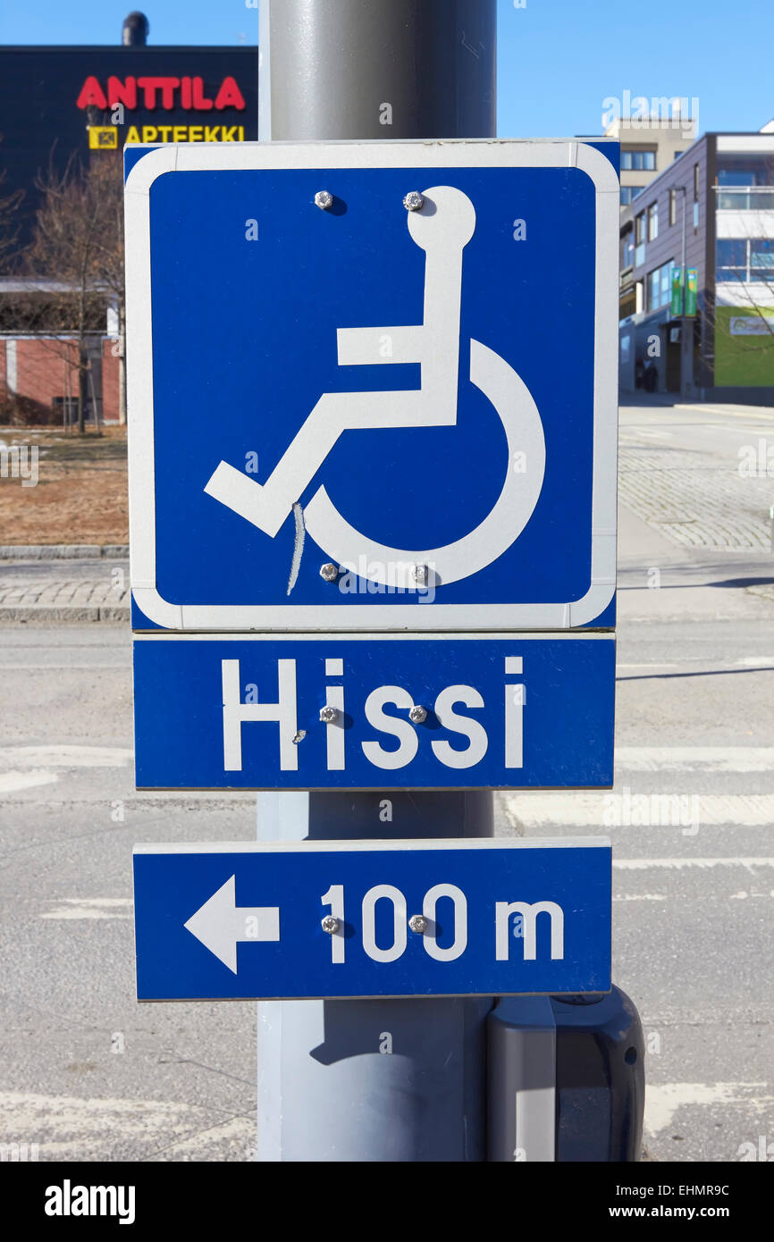 Itinerary for handicapped sign, Finland - Stock Image