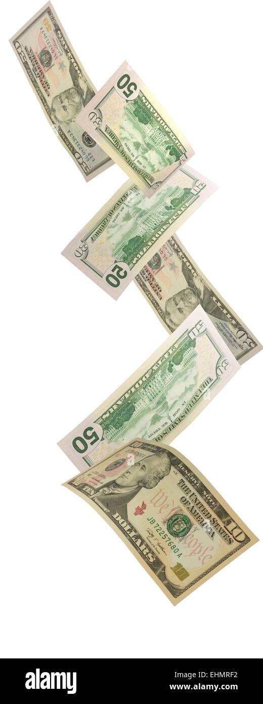 American Dollars falling - Stock Image