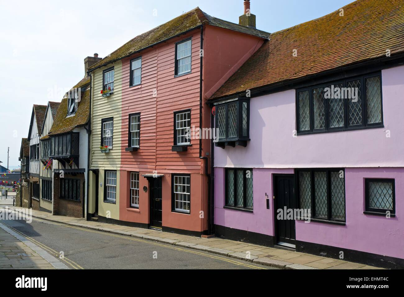 Narrow street in Hastings Old Town. East Sussex. England. With wooden fronted houses and no people - Stock Image