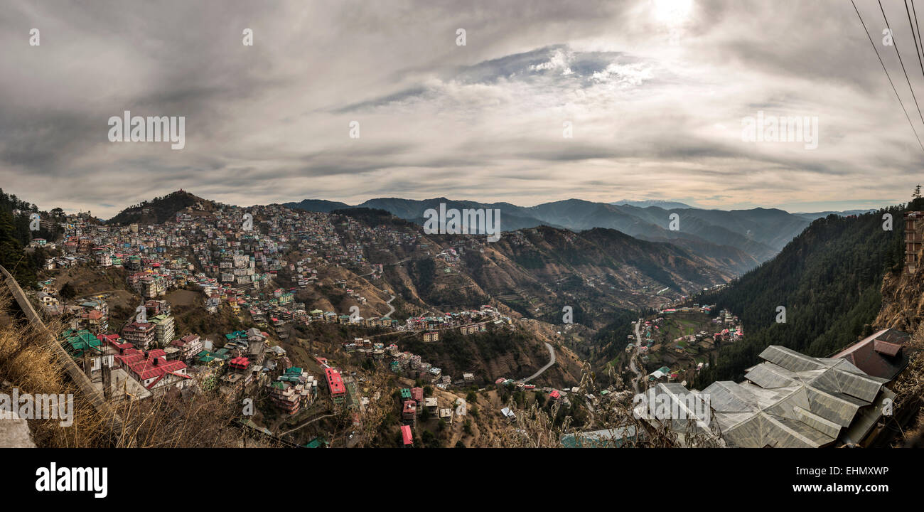 Urban sprawl in the Himalayan foothills in the Shimla district, Himachal Pradesh, India - Stock Image