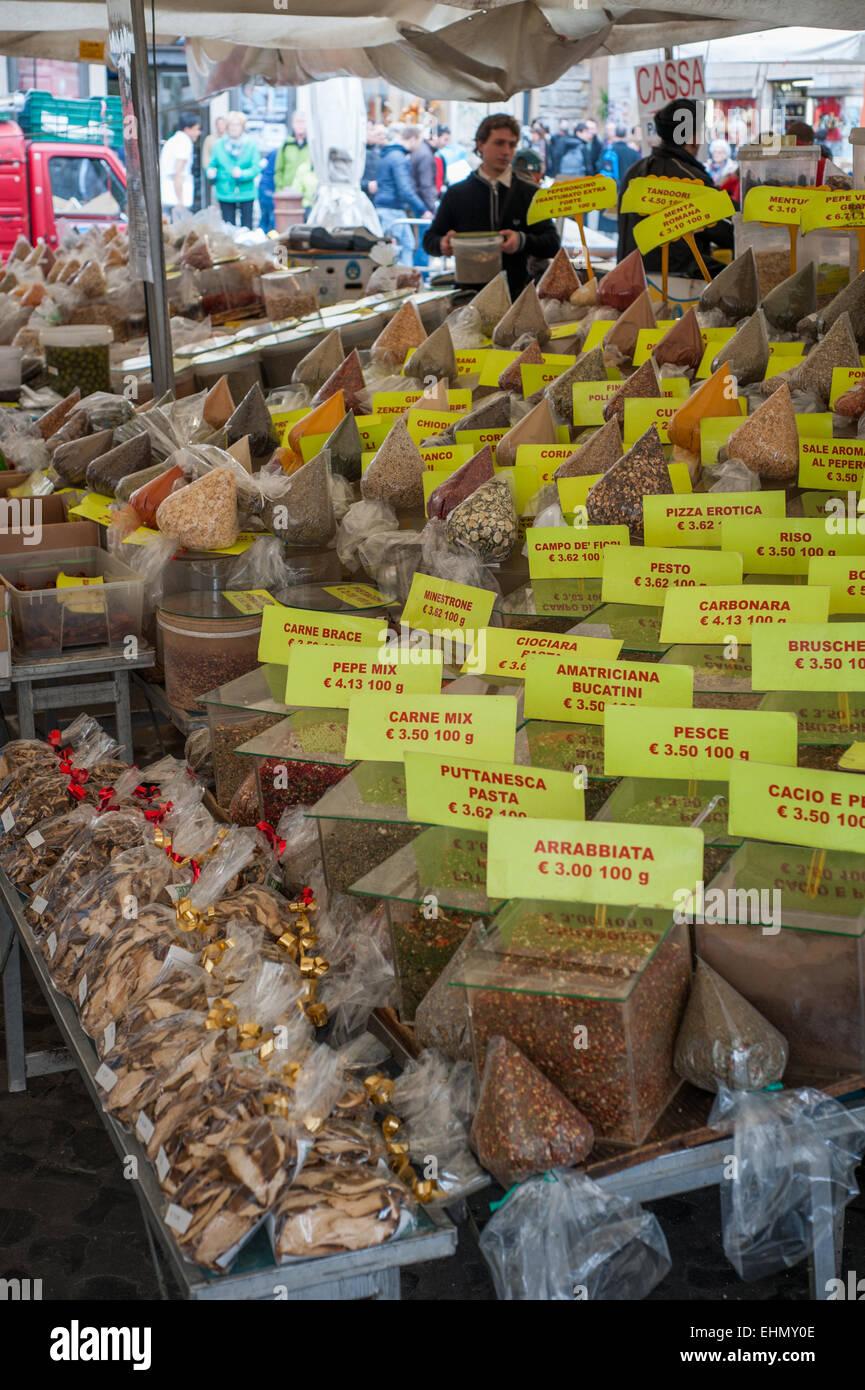 Herbs and seasonings for sale in Mercato di Campo dè Fiori, Piazza Campo Dè Fiori, Rome, Lazio, Italy. - Stock Image