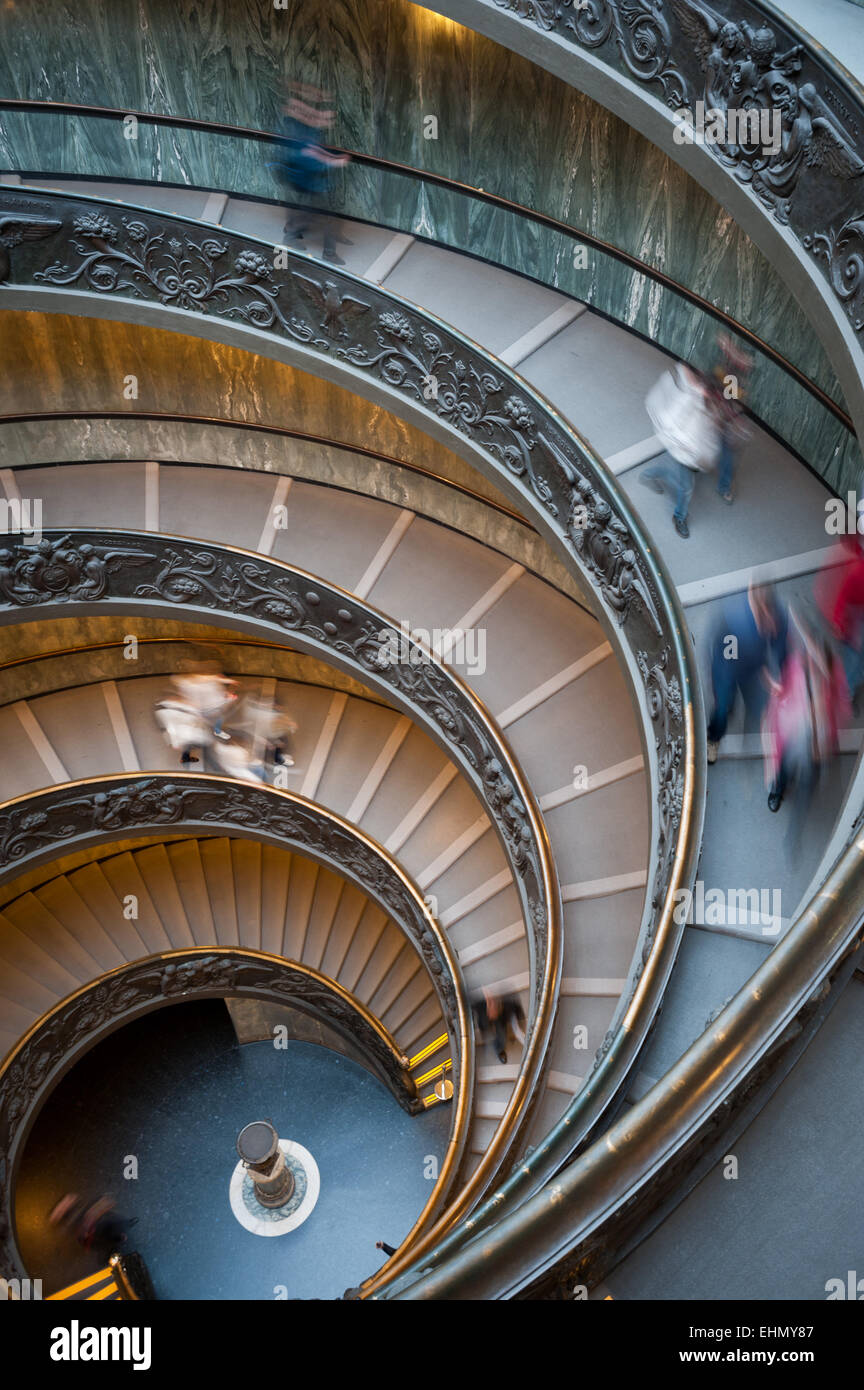 Guiseppe Momo's spiral ramp in the Vatican Museum, Rome, Lazio, Italy. Stock Photo