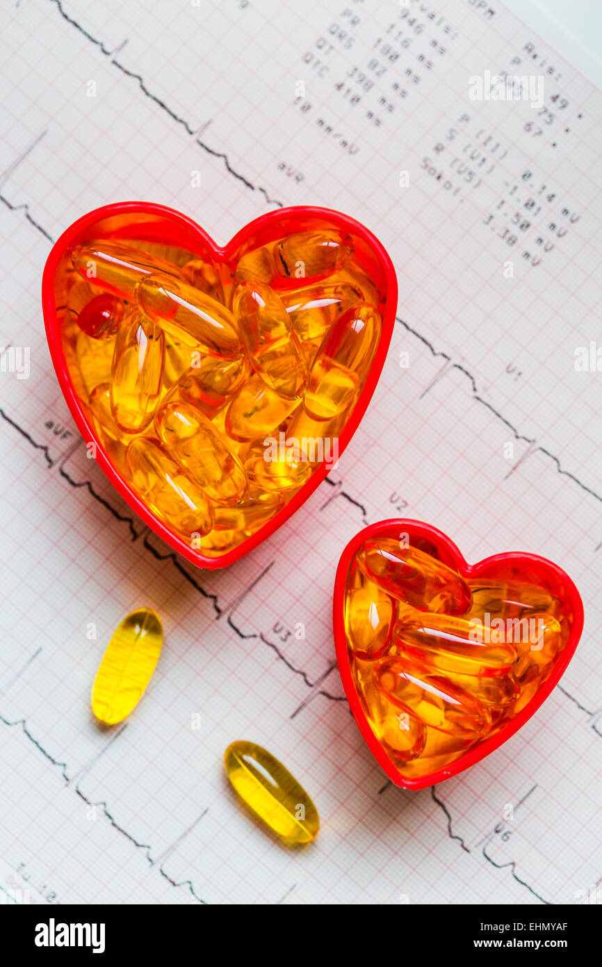 Conceptual image on the treatment of cardiovascular disease by omega-3. - Stock Image