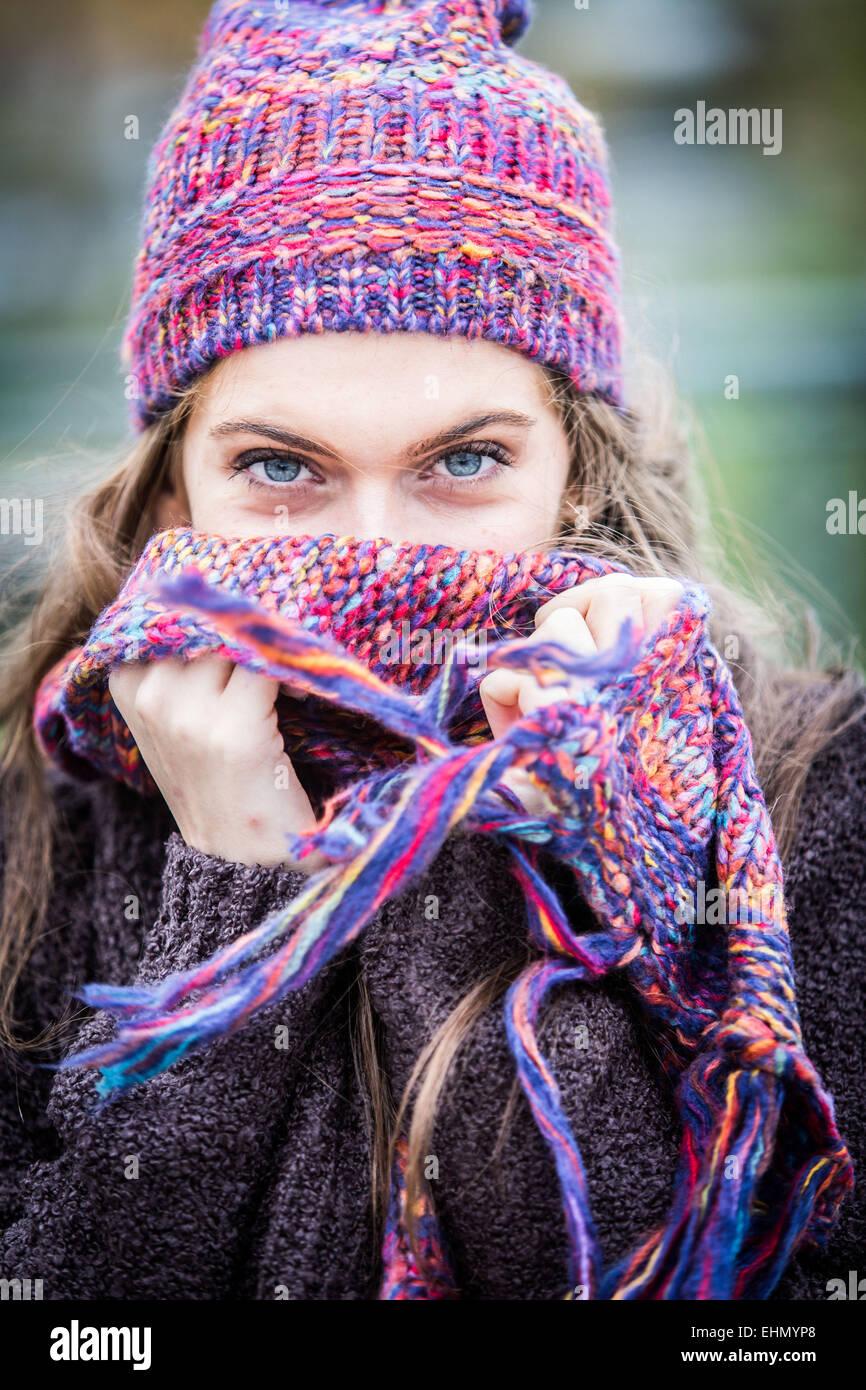 Portrait of woman in winter. - Stock Image