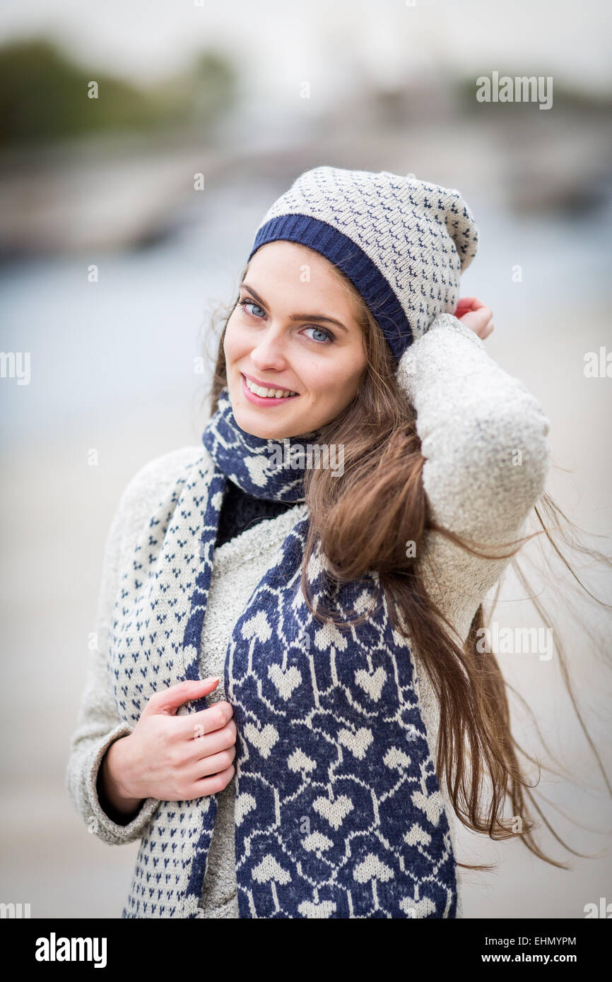 Portrait of woman in winter. - Stock Image