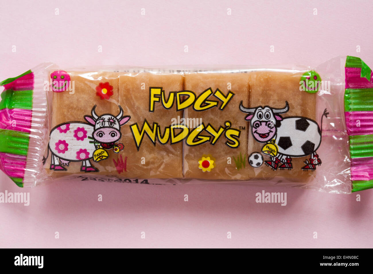 Fudgy Wudgy's fudge bar set on pink background Stock Photo
