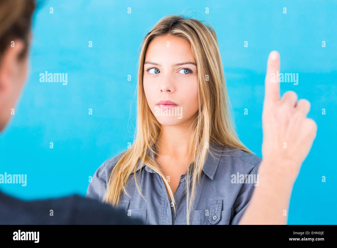 Woman undergoing EMDR (Eye Movement Desensitization and Reprocessing) therapy. This therapy helps people suffering - Stock Image