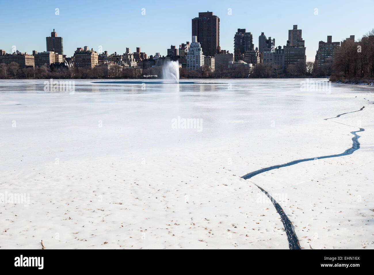 Artificial lake frozen of Central Park, New York City, USA. - Stock Image
