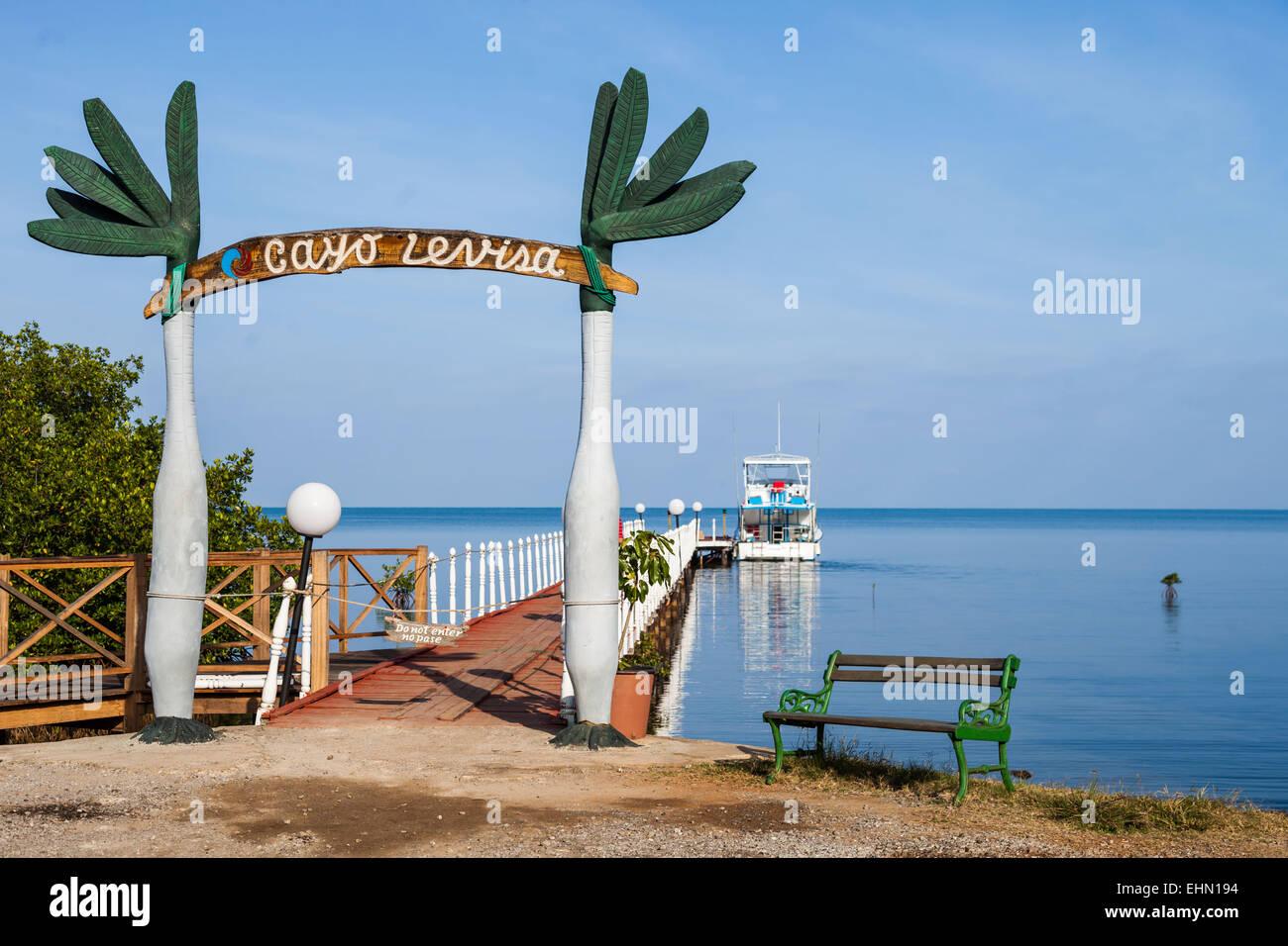Pontoon to go to Cayo Levisa, Cuba. - Stock Image