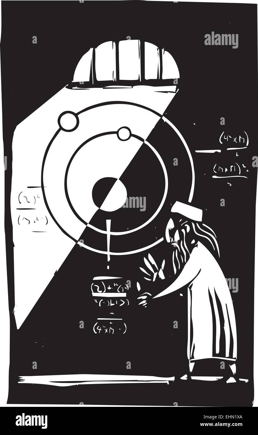 Woodcut style image of a an Islamic Astronomer working out math equations - Stock Vector