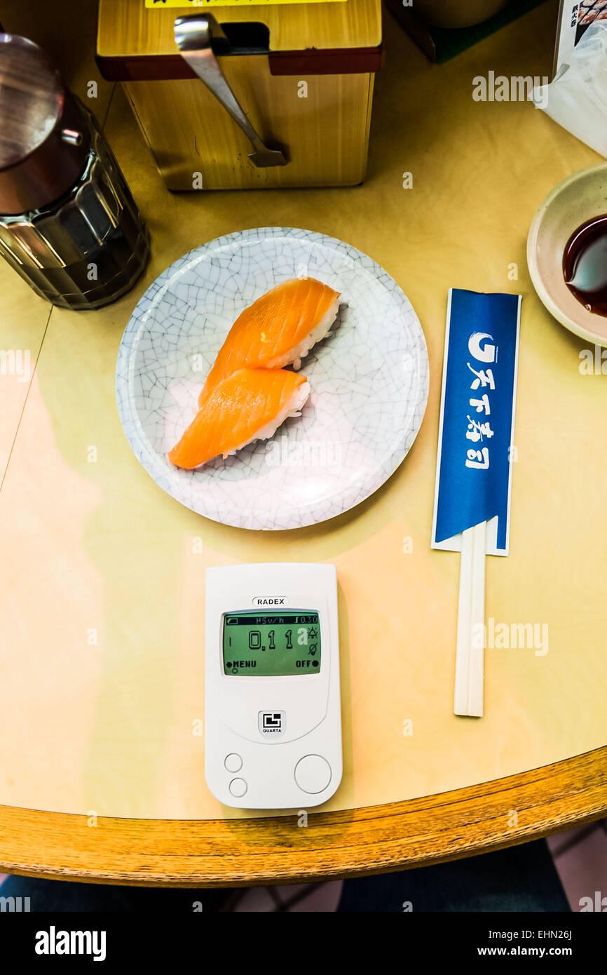 Measuring radiation, radiation monitor showing the radiation level. Stock Photo