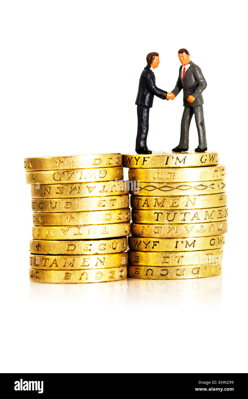 business businessman businessmen cash fat cats coins earnings executive executives finance financial man management - Stock Image