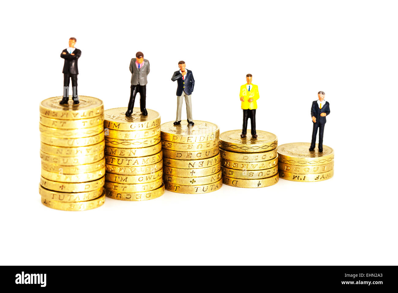wages comparison compare income salaries salary  pay wage finance money payroll isolated cut out cutout white background - Stock Image