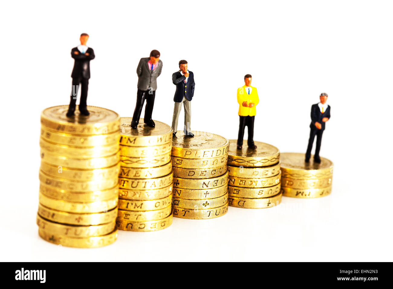 wealth scale of pay salary wages income in business isolated cut out cutout white background fat cats earners earning - Stock Image