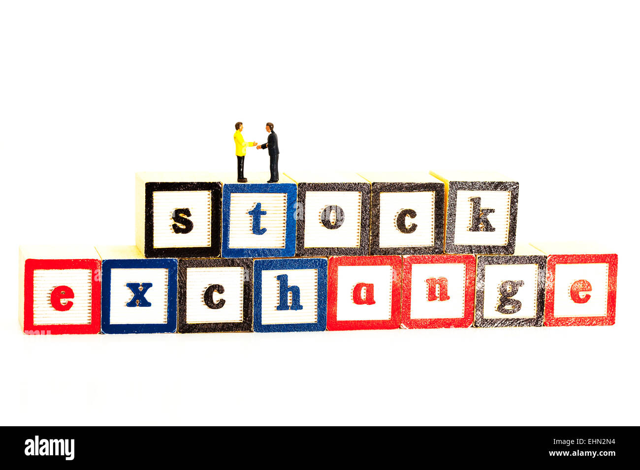 stock exchange deal shares stocks ftse index deals business businessmen isolated cut out cutout white background - Stock Image