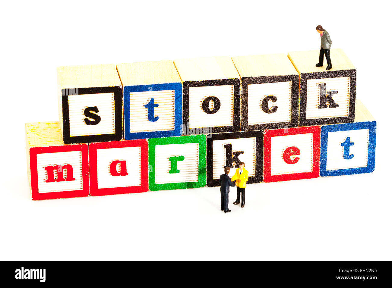 Stock market shares deal business winners losers up down finance finances deals isolated cut out cutout white background - Stock Image