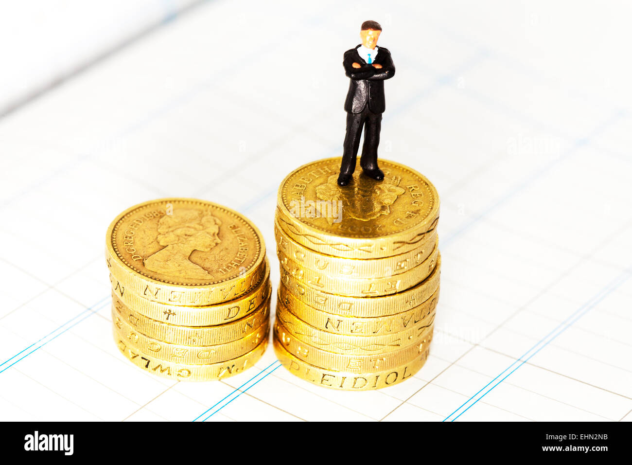 Accounts accountant accounting pound coins on spreadsheet business bookwork tax vat isolated cut out cutout white - Stock Image